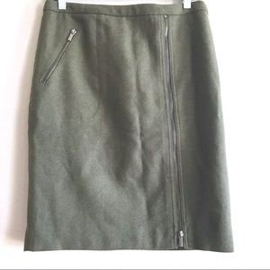 JCrew wool pencil skirt zip front olive green 6